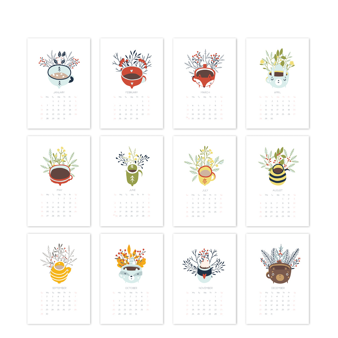 2021 달력 CALENDAR 25 Cozy and Cute Hand Drawn Cups